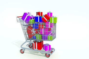 shopping kart filled with gifts