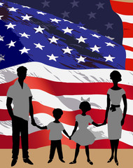 Silhouette of a family background on American flag