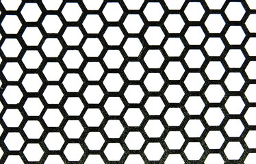 Metal honeycombs close up in black-and-white