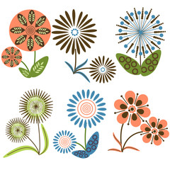 Collection of vector flowers