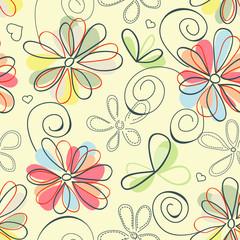 Fototapete - Retro floral background (seamless)