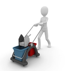 3d man with cleaning buckets trolley