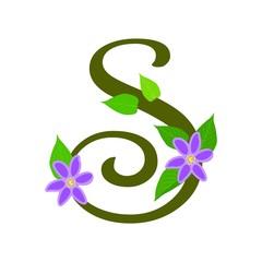 Plant font type, letter S