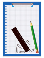 Clipboard, pencil and ruler over a white background