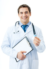 Happy smiling doctor with medicament and clipboard, isolated