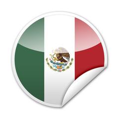 Pegatina bandera Mexico con reborde