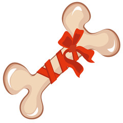 Big bone tied red  ribbon