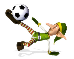 santa helper cartoon footballer volley