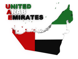UAE, United Arab Emirates, map with flag, clipping path included