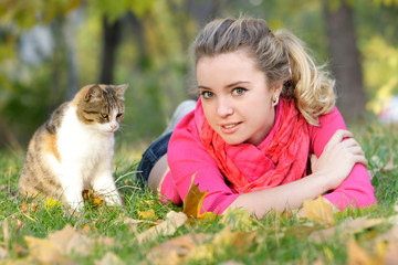 Printed kitchen splashbacks Artist KB young attractive girl with cat on natural background