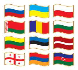 Wavy gold frame flags - Eastern Europe