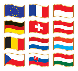 Wavy gold frame flags - Central Europe