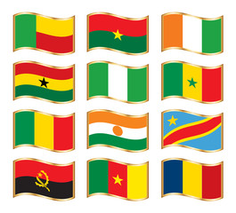 Wavy gold frame flags - Western & Middle Africa