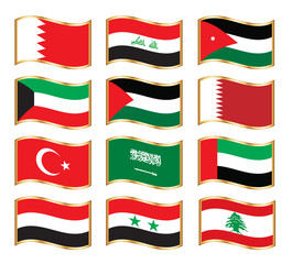 Wavy gold frame flags - Middle East Asia