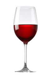 Photo sur Aluminium Alcool Red wine glass isolated on white background