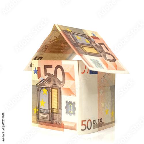 Maison Construite En Billet De 50 Euros Photo Libre De