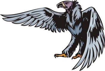 Griffin with dark blue plumage.  Predatory birds.
