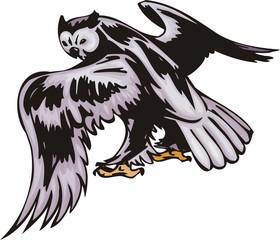 Owl with violet plumage. Predatory birds.