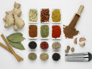 Various spices on a white background, overhead view