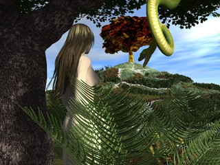 Serpent tempts Eve in the Garden of Eden