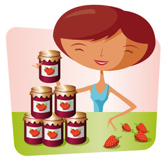 Woman making strawberry jam