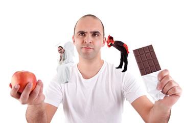 man choosing apple or chocolate,between devil and angel