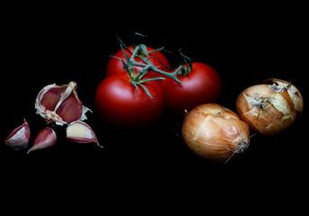 Tomaten Zwiebeln Knoblauch Zutaten