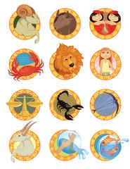 Zodiac signs in cartoon style