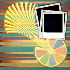 Polaroid frame on vintage background