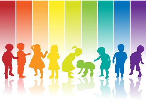 kinder silhouette regenbogen