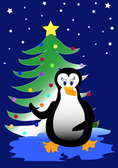 Bird Penguin with Christmas tree