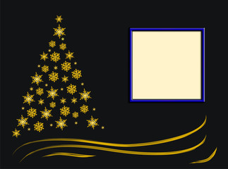 Christmas gold tree from spirals and gifts, place for text