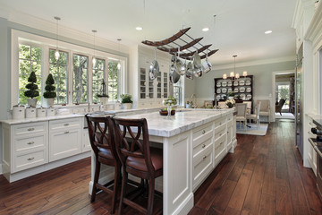 Kitchen with white granite island