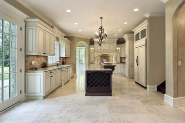 Kitchen with double deck island