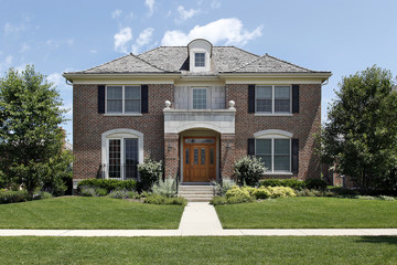 Brick home with front archway