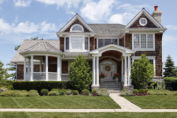Luxury home with column entry way