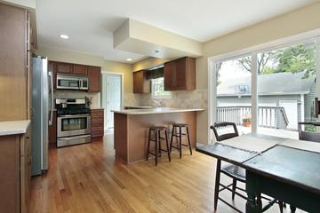 Kitchen with deck view