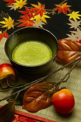 抹茶と柿-縦