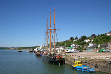 tall ship on River Torridge