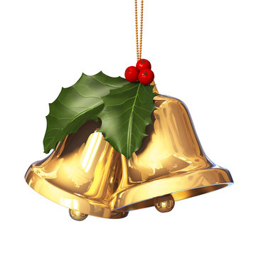 Pair of golden bells with holly leaves