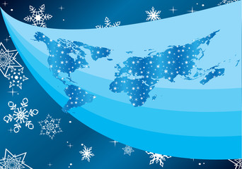 vector winter illustration with map of the world