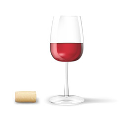 Photo-realistic wine glass with cork. Vector illustration.
