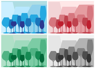 Glass silhouettes. Different colours. Vector illusration.