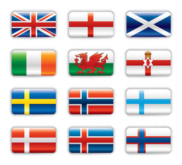 Extra glossy flags - Northern Europe