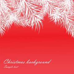 Red Christmas background with fur-tree branches
