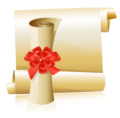 Vector illustration. Scrolls with red gift bow.