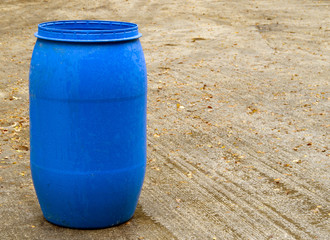 Blue plastic 200ltr barrel
