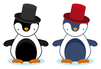 set of two penguins with elegant hats