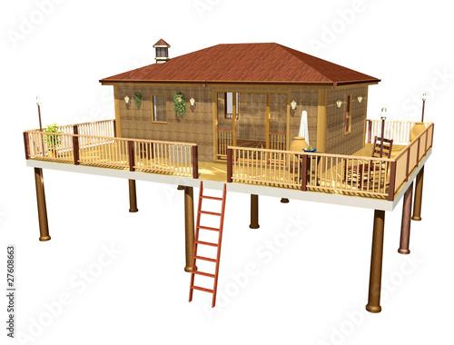 Bungalow palafitta capanna 3d immagini e fotografie for Fantastici disegni di bungalow