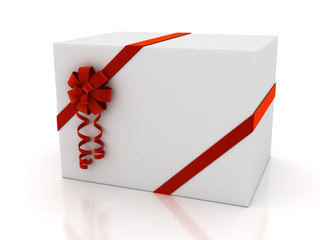 Greeting card with ribbon over white